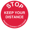 Red Keep your Distance  - Floor Sticker