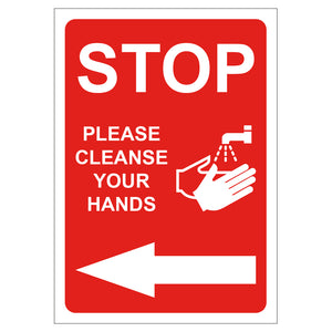 Red Stop & Clean Hands - Board Sign
