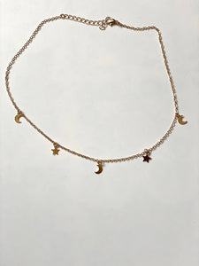 Star and Moon Chain Necklace