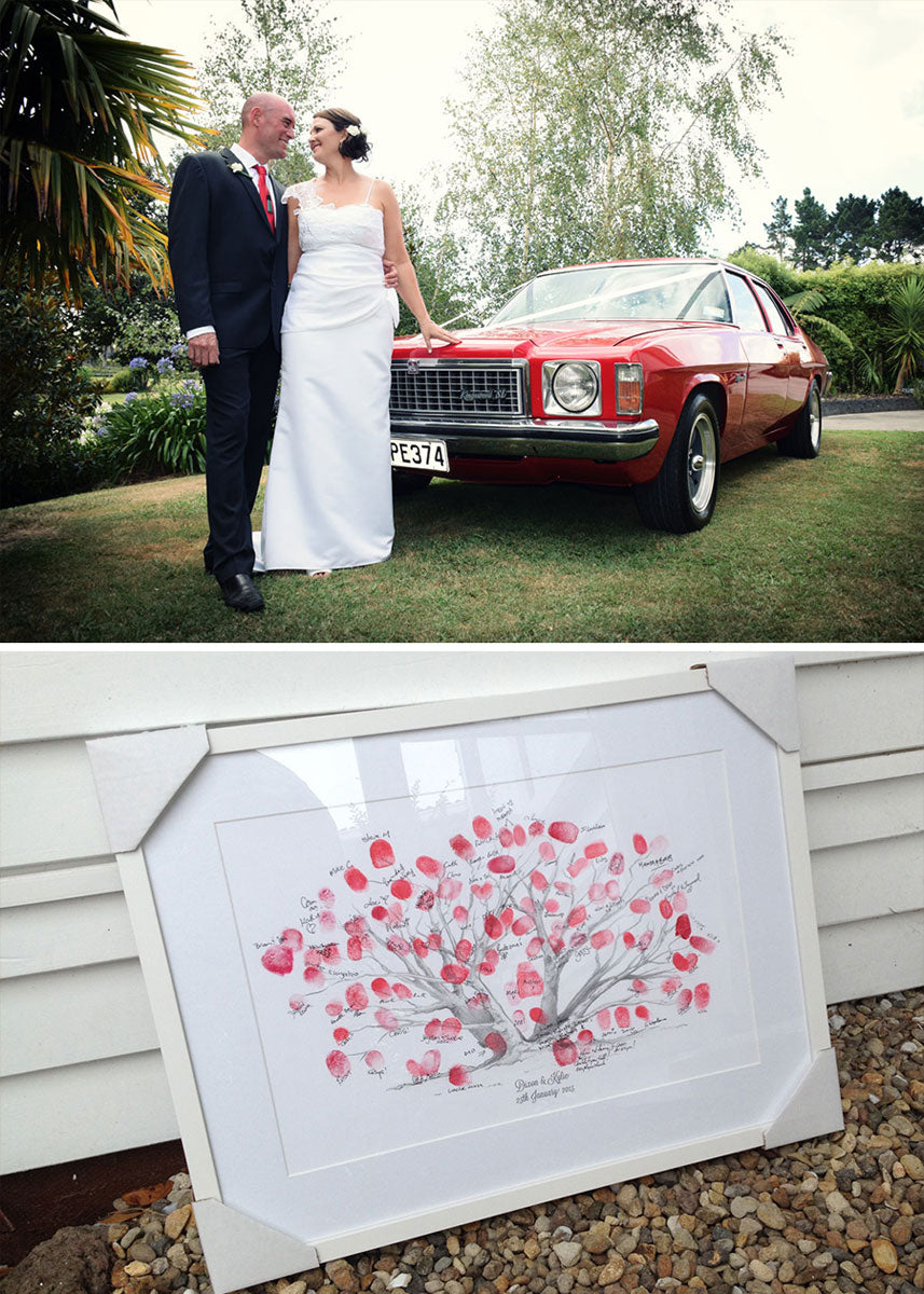 red vintage holden kingswood wedding car complements the guestbook
