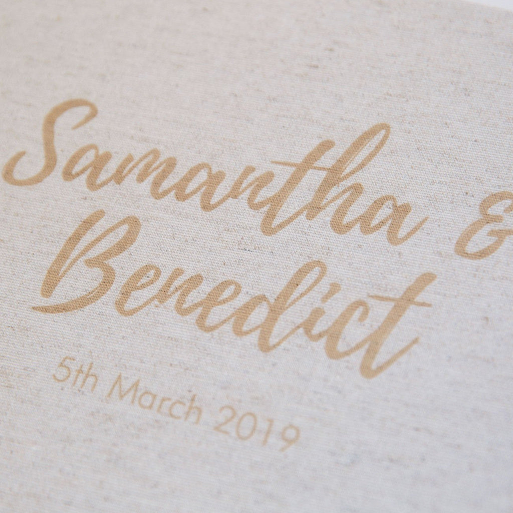 personalised guestbook cover with bride and groom names