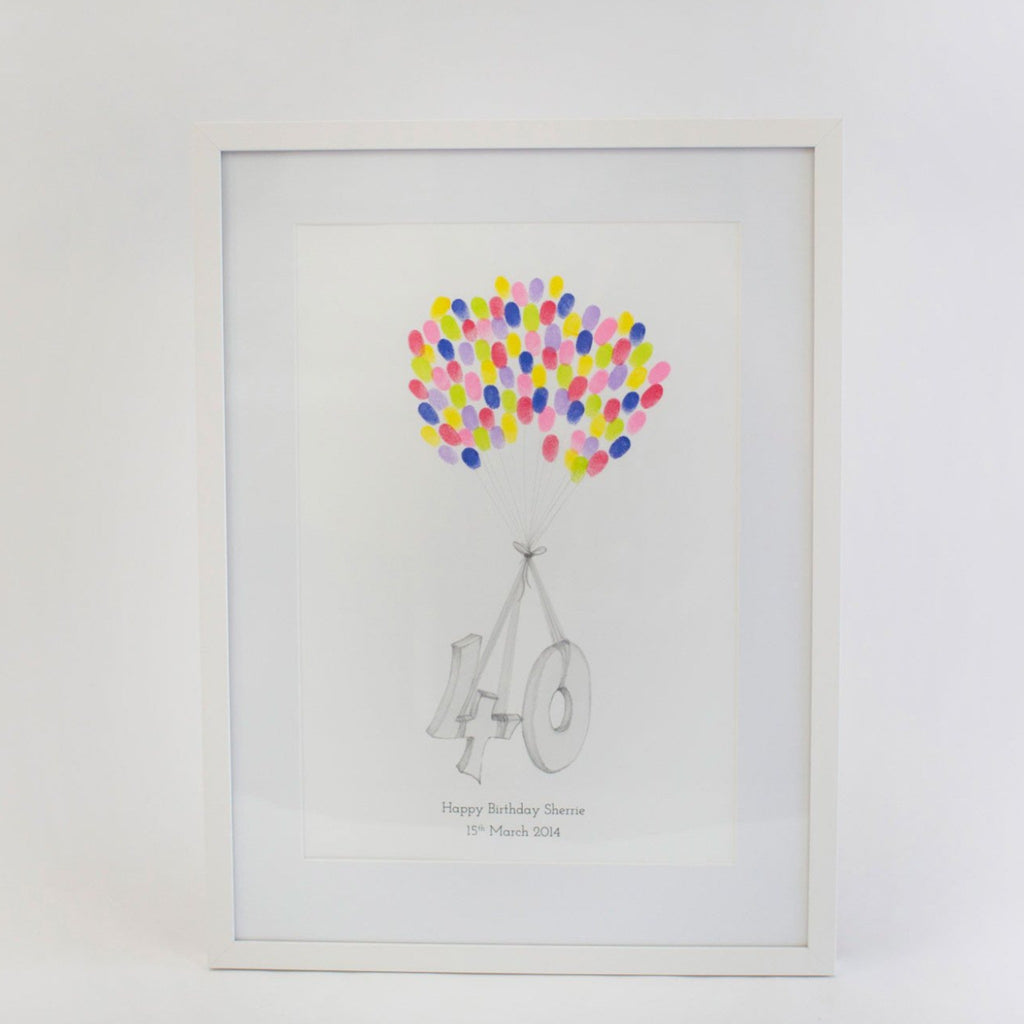 Personalised 40th Birthday Guest Book Fingerprint Balloon Guestbook - My Guest Book