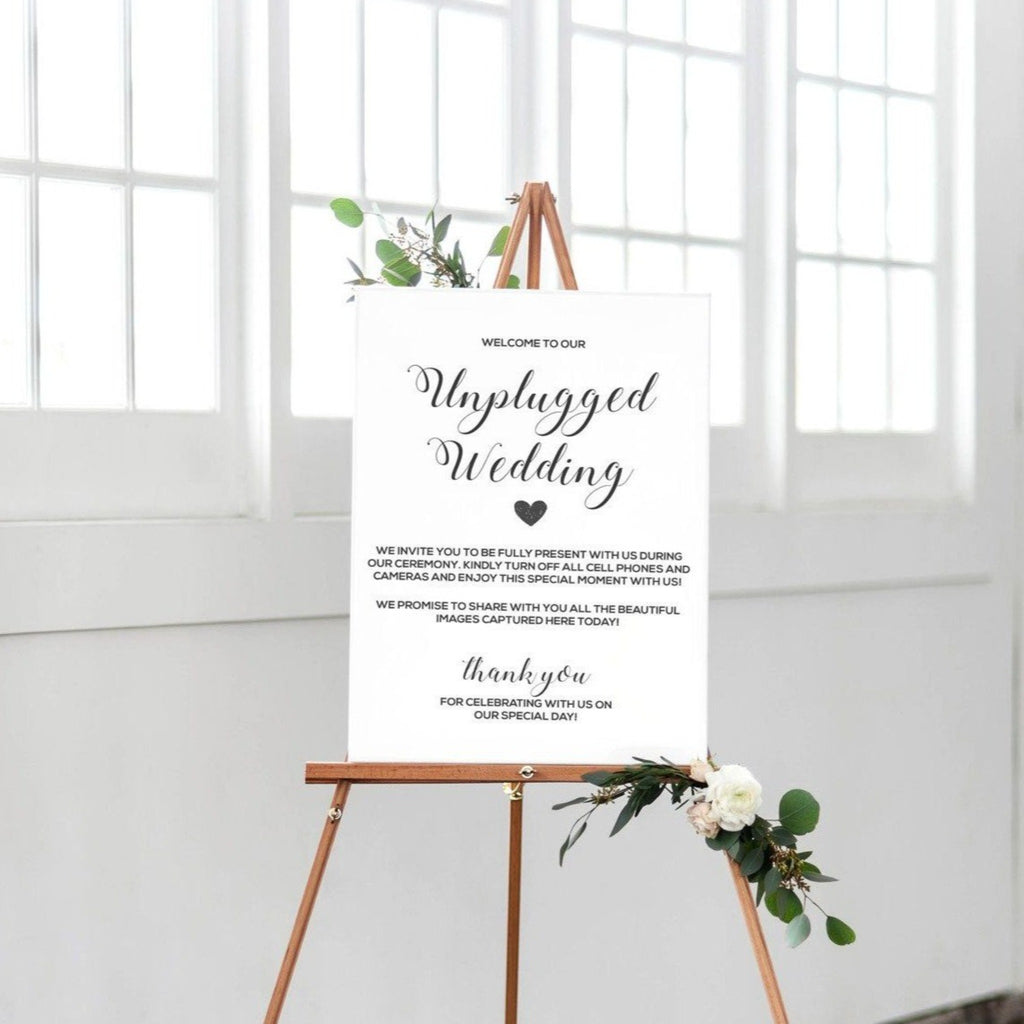 Sign - Unplugged Wedding - DIY Printable Download