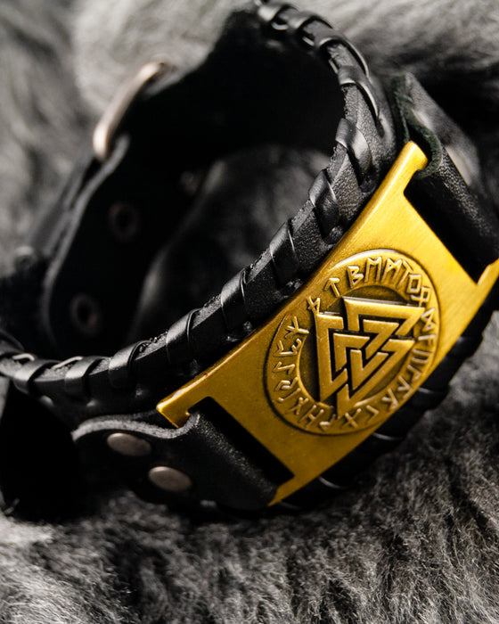 Black Leather Cuff and Gold Plate with Odin Triangle