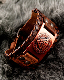Brown leather Cuff and Bronze Plate with Odin Triangle