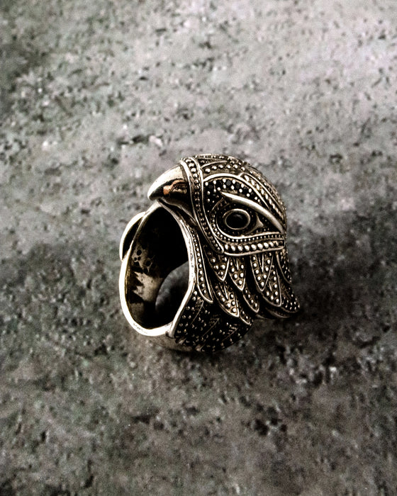 Eagle Head Ring - Sterling Silver Band