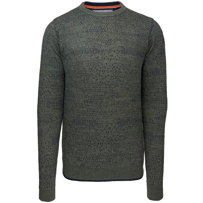 crewneck cotton jacquard plated pkw205304 6026 army green pme legend front