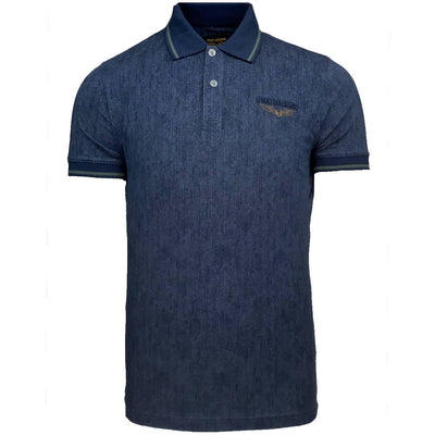short sleeve polo single jersey melange aop pme legend night sky ppss205853 5288 front