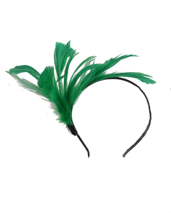 Feather Fascinator Headband , Samll Feather Fascinator,  Green 1708