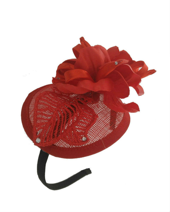 Fascinator Headband , Samll Floral Fascinator,    Red 1707