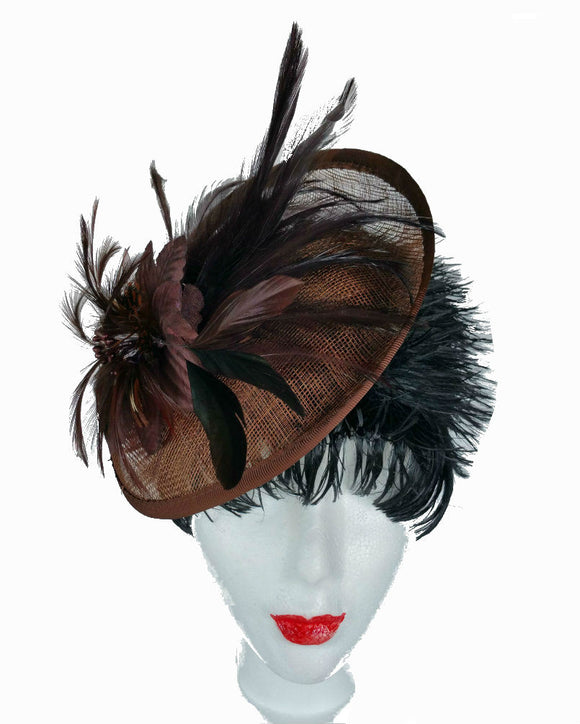 Fascinator Hat, Feather Fascinator, Brown 1511