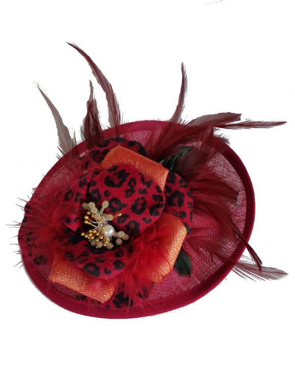 Fascinator Hat Feather Fascintor Burgundy1509