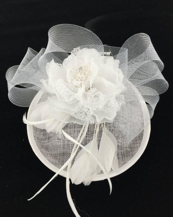 Occasion Floral  Fascinator Hat  Derby Hat, White  071608