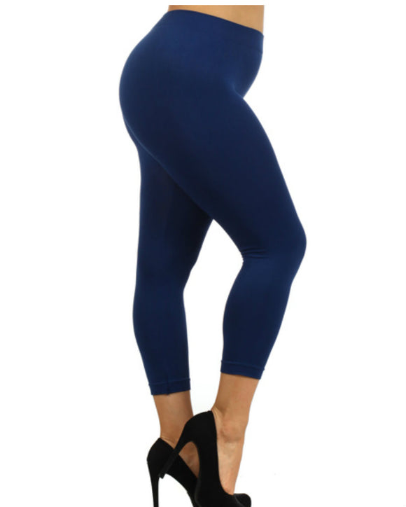 Seamless Spandex Leggings, Capri Length,Plus Size