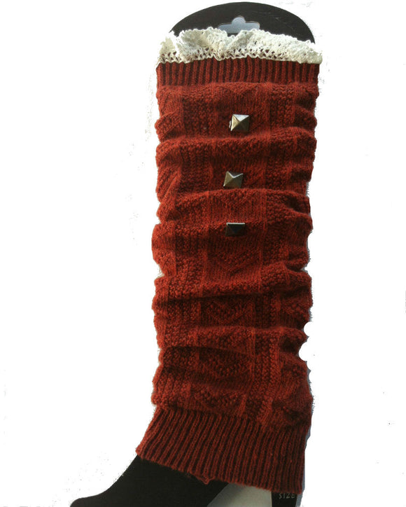 Knit Leg Warmer with Lace,Boot socks, 6 Colors