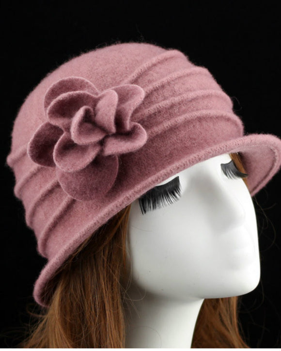 Women's Wool Bucket Hat with flower detail 090116