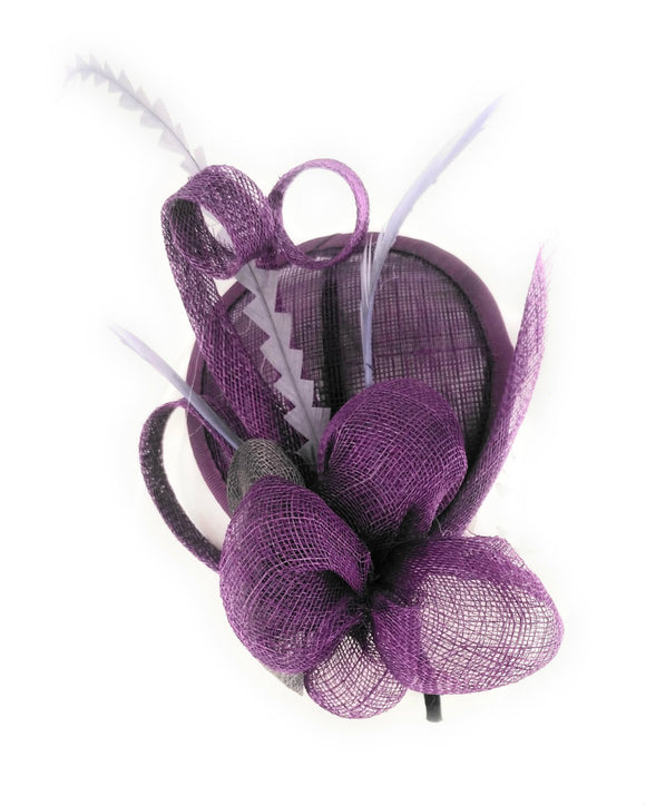Sinamay Fascinator Headband, Small Floral Fascinator, Dark Purple 1801