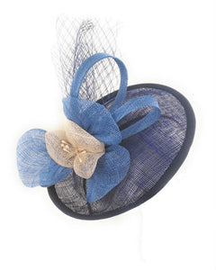 Fascinator Sinamay Fancy Dress Cocktail Hat, Blue and Ivory 1802