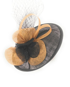 Fascinator Sinamay Fancy Dress Cocktail Hat, Black and Gold 1802