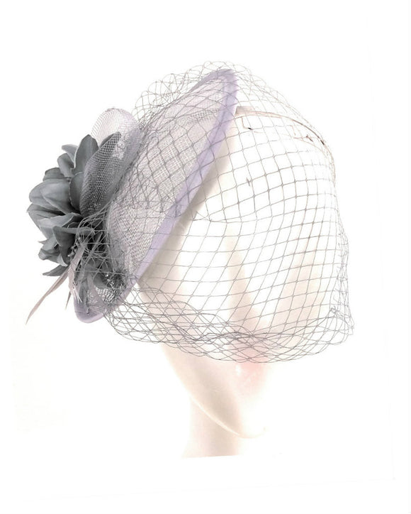 Sinamay Fancy Dress Wedding Veiled Fascinator Hat Grey 1803