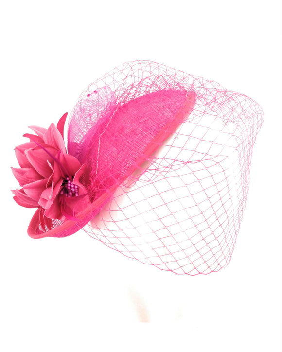Sinamay Fancy Dress Wedding Veiled Fascinator Hat Fuchsia 1803