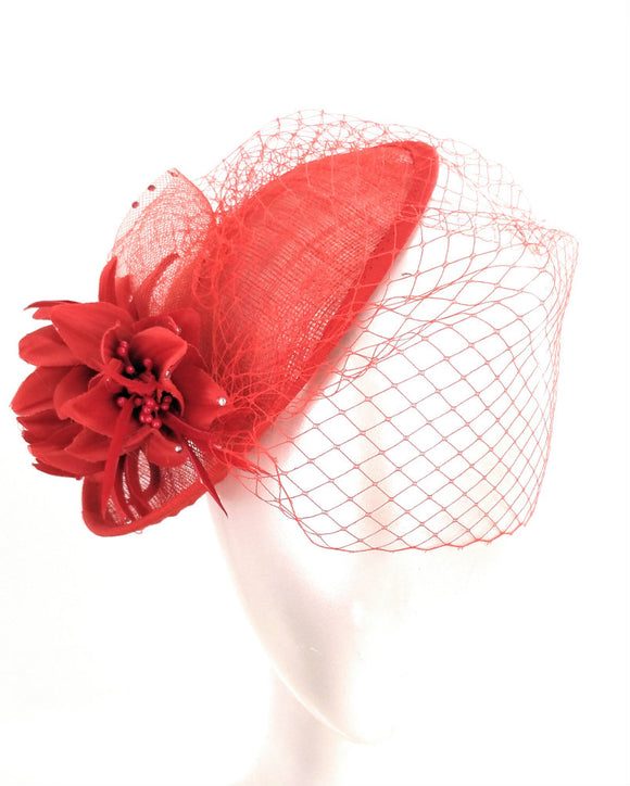 Sinamay Fancy Dress Wedding Veiled Fascinator Hat Red 1803
