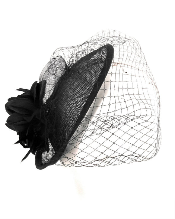 Sinamay Fancy Dress Wedding Veiled Fascinator Hat Black 1803