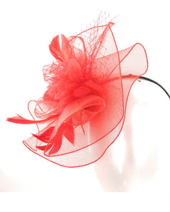 Red Feather Fascinator Hat Headband, 1805
