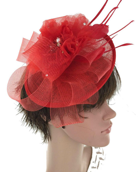 Occasion Floral  Fascinator Hat  Derby Hat, Red  071608