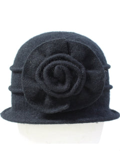 Wool Bucket  Hat with flower detail 090216