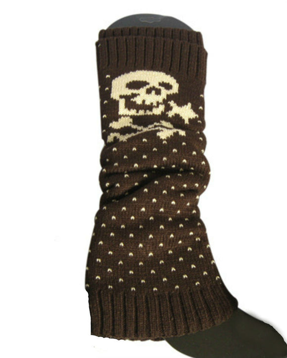 Skull Knit Leg Warmers  Brown