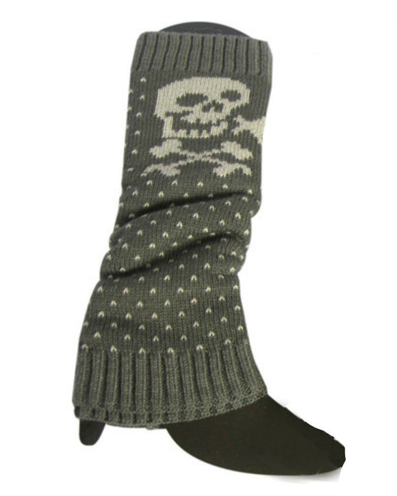 Skull Knit Leg Warmer,  Grey