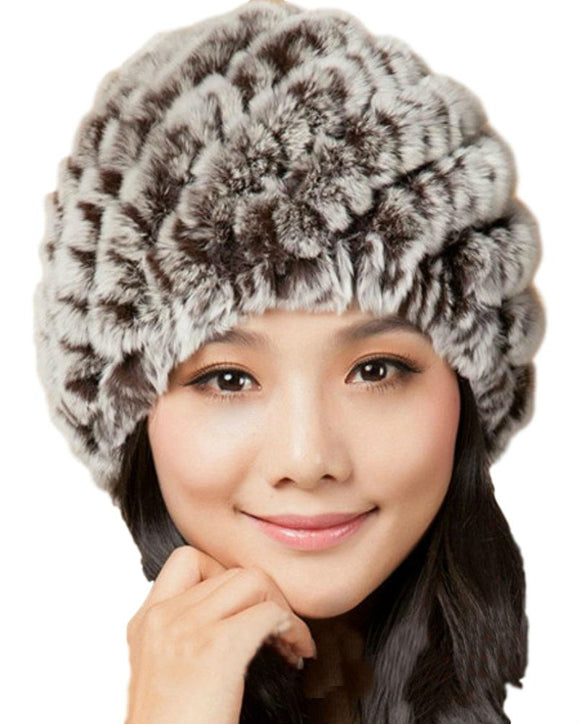 Knit Rex Rabbit Fur Beanie Hat