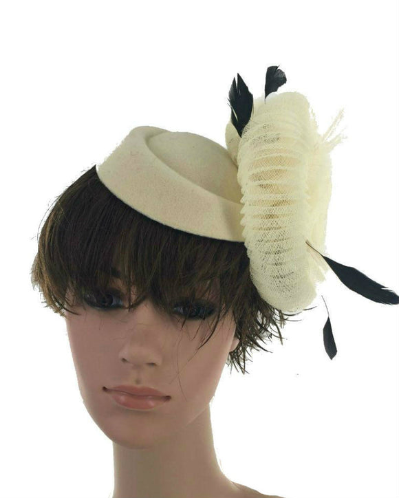 Pill Box Fascinator Hat  Ivory 071612