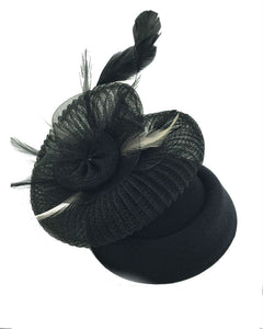 Pill Box Fascinator Hat  Black  071612