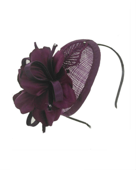 Fascinator Headband , Samll Floral Fascinator,  Dark Purple 1707