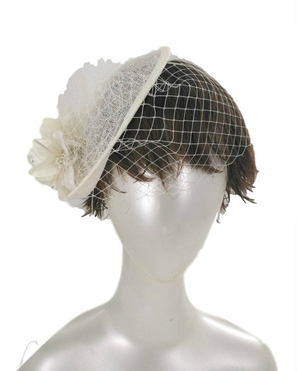 Sinamay Fancy Dress Wedding Veiled Fascinator Hat Ivory 1803