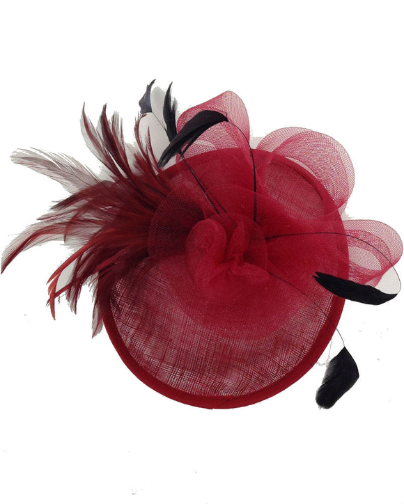 Floral  Fascinator Hat  Lady Hat, Burgundy 10716