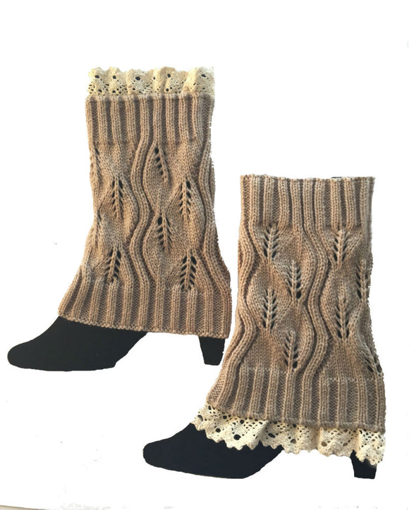Boot Cuffs  and Toppers knitted with Lace, Legwarmers W1701
