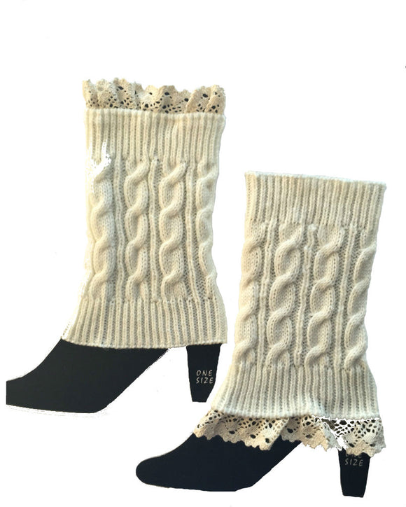 Boot Cuffs  and Toppers knitted with Lace, Legwarmers W1702