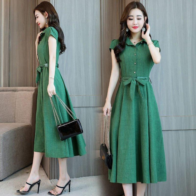 Hot! Cotton and linen dress [refreshing and breathable] was thin temperament M-3XL