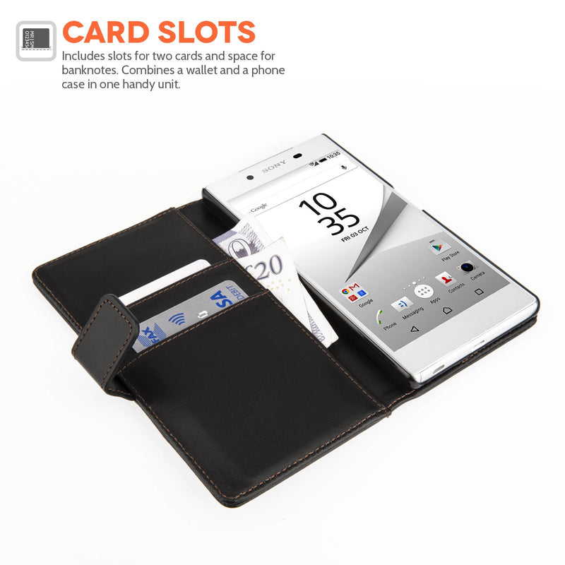 Premium Black Leather Wallet Flip Case Cover for Sony Xperia Phones