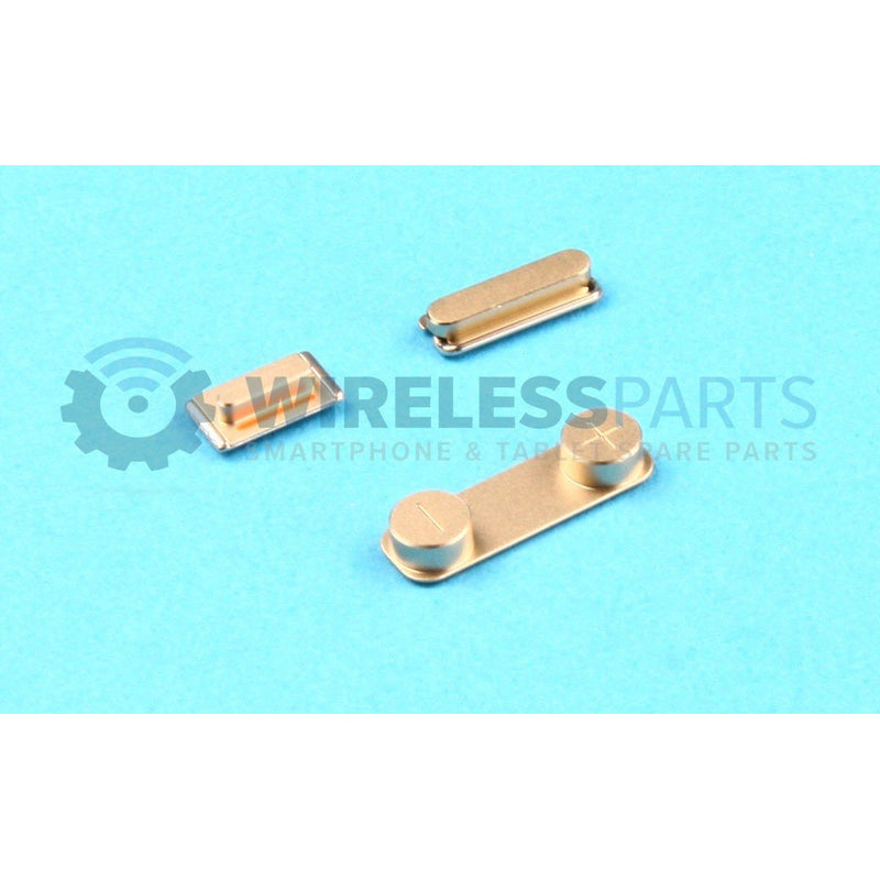 For iPhone 5S / SE - Metal Power, Volume, Silent Buttons, Gold - OEM
