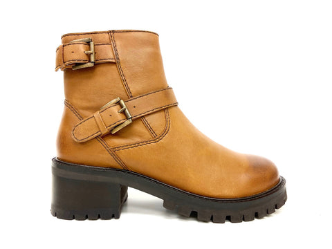 platform ankle boot tan leather