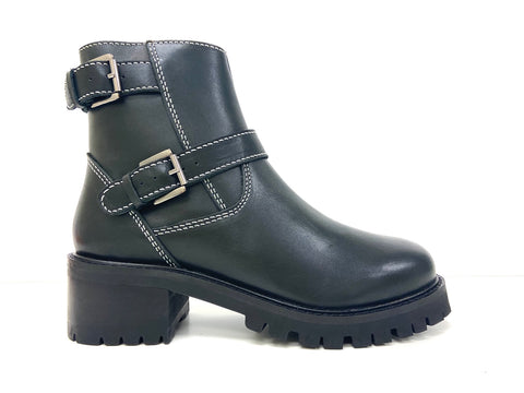 Black platform ankle boot with buckles