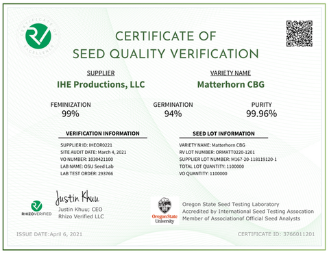 MATTERHORN CBG | Verified Feminized Seeds