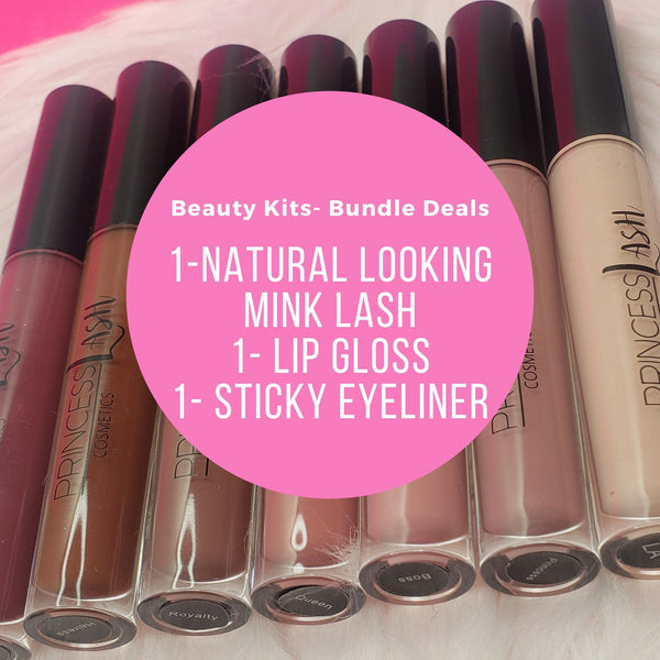 Beauty Bundle kits and bundle deal of mink lashes, lip gloss, and sticky eyeliner