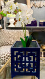 Navy Lacquered Planter
