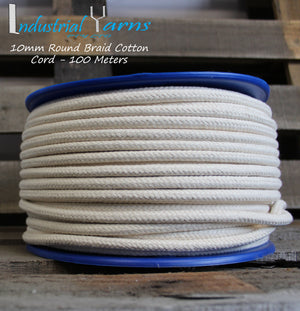 10mm Round Braid Cotton Cord 100 Meters