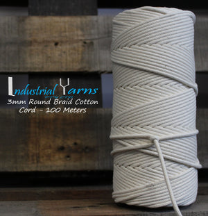 3mm Round Braid Cotton Cord 100m